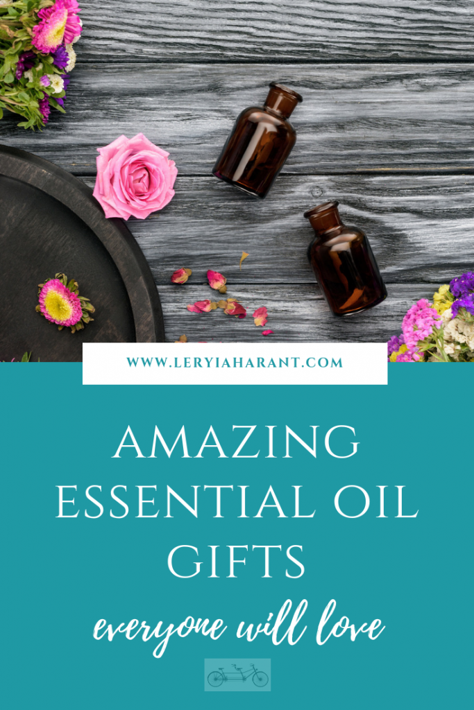 essential oil bottles and flowers