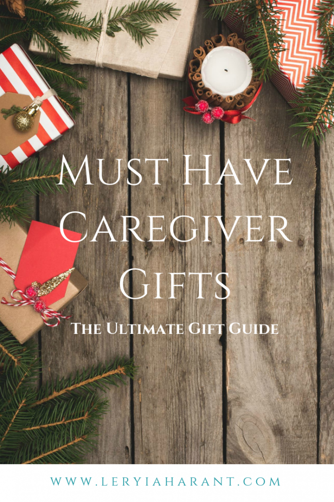 gifts for caregivers on a rustic wood background