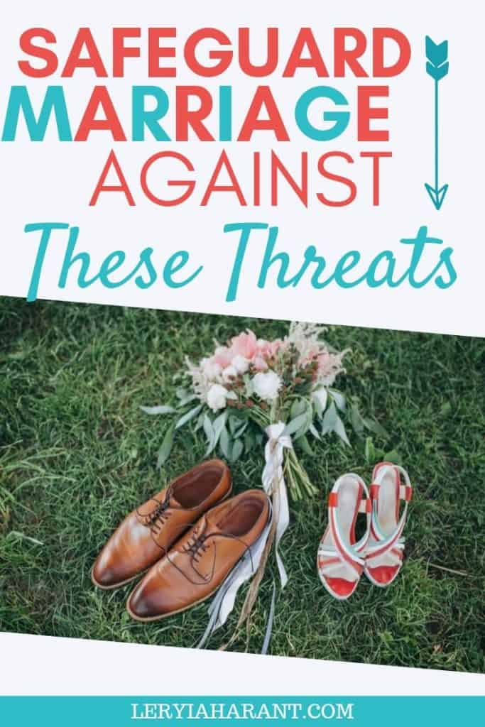 husband and wife shoes standing against marriage threats