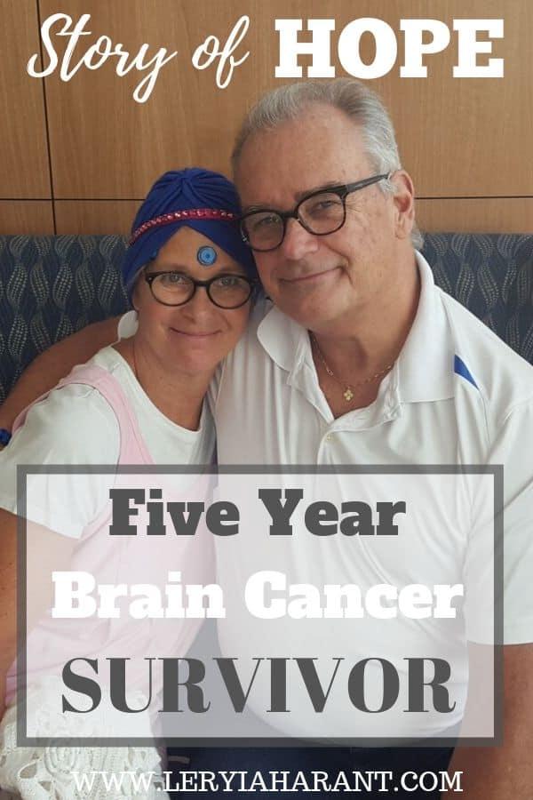 female brain cancer survivor hugging husband