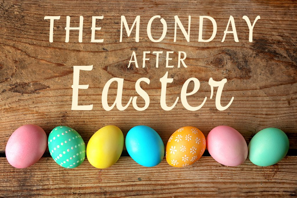 Monday after Easter sign with colored easter eggs