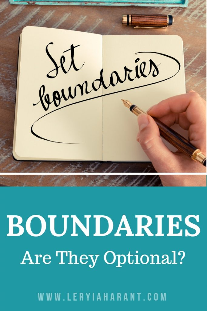 setting healthy boundaries in a paper journal with words set boundaries written