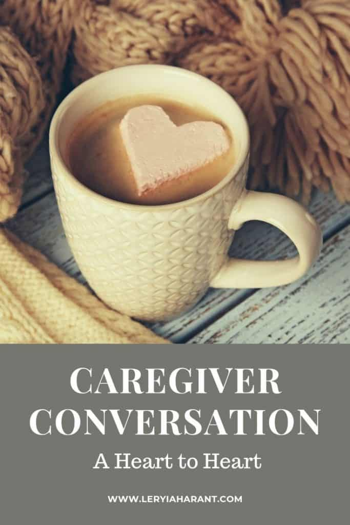 caregiver conversation over cup of coffee