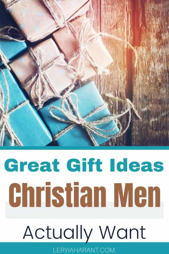 christian gifts for men in teal and butcher paper on a rustic background