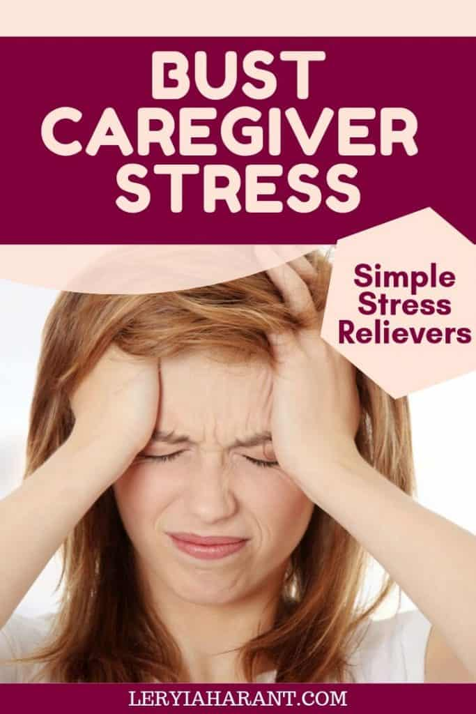 Young woman battling caregiver stress with hands on her head and burdened look on her face