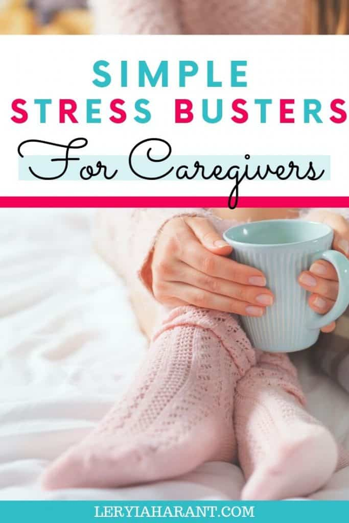 female caregiver curled up with a hot beverage in cozy clothes trying to alleviate caregiver stress
