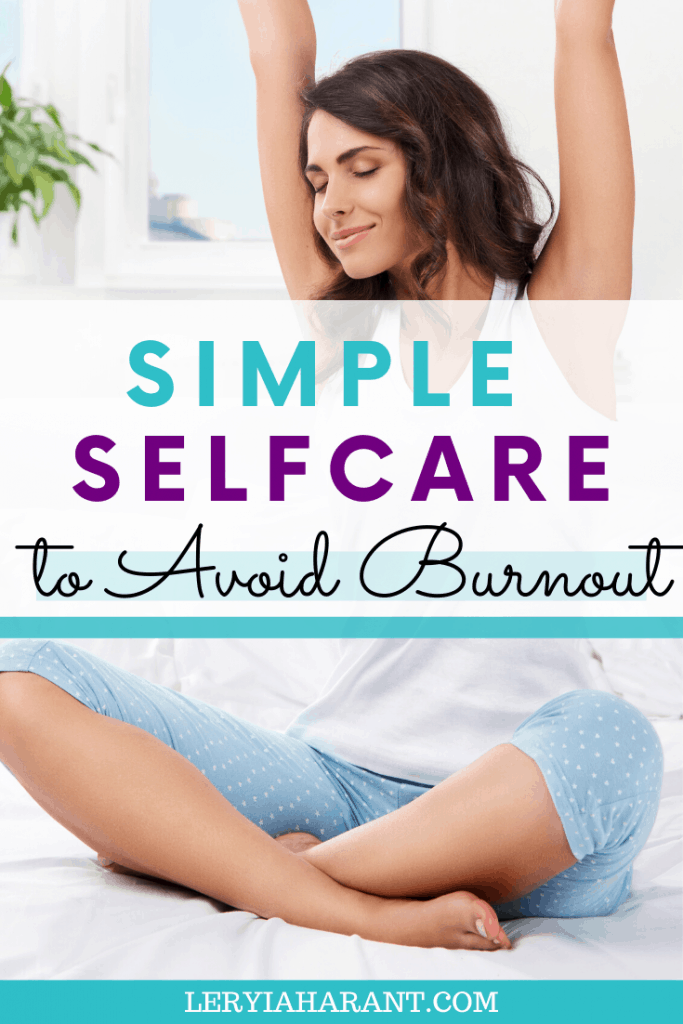 Woman stretching as self care strategy