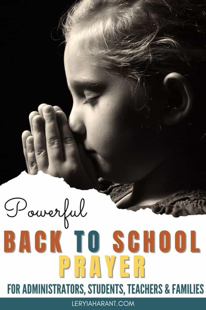 little girl praying back to school prayer