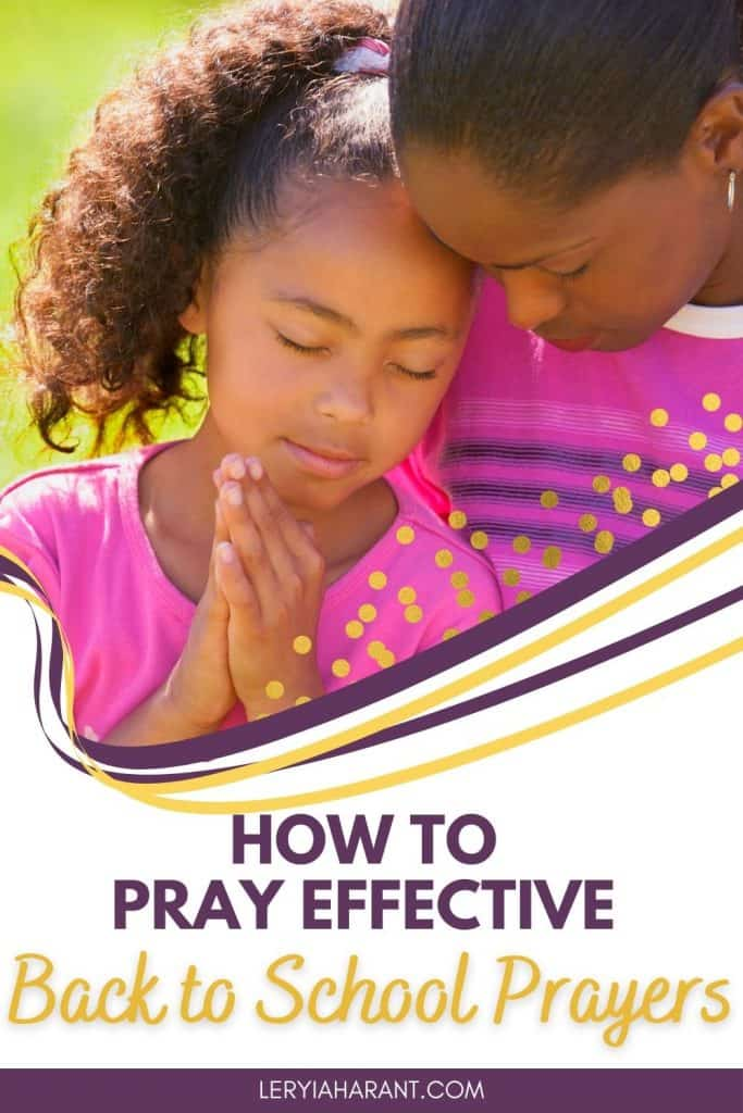 Mom and daughter praying back to school prayer