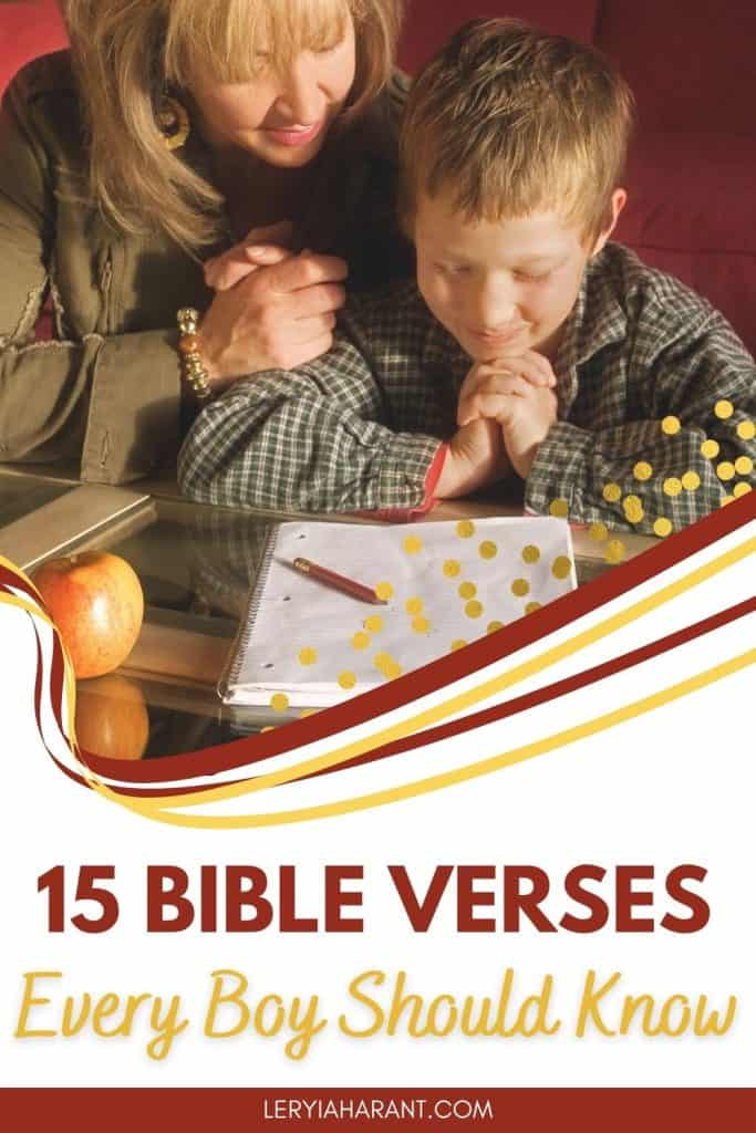 Mom and son praying bible verses for boys