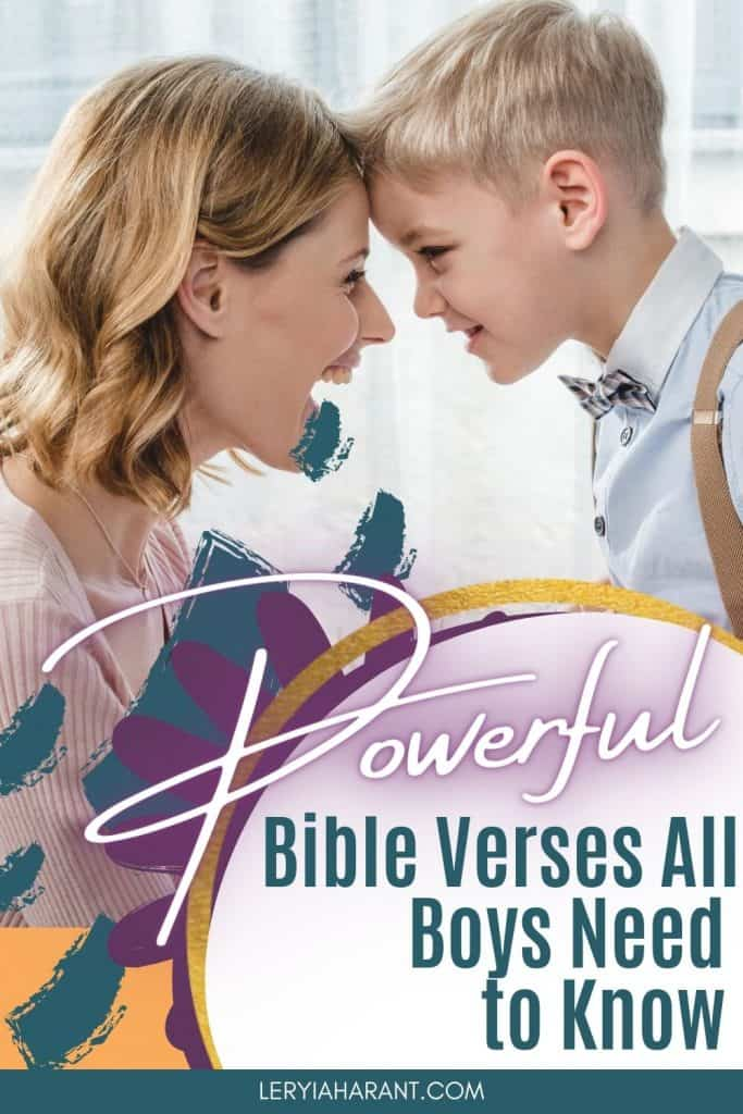 Mom praying bible verses for boys over her son