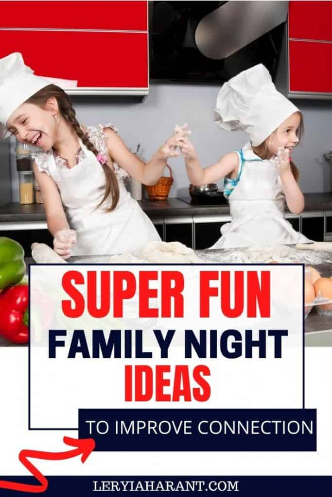 two little girls playing chef in kitchen for family night ideas